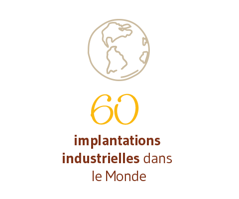 60 implantations industrielles dans le monde