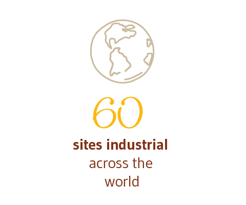 60 sites industrial across the world