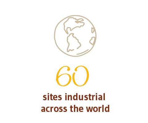 90 SITES (Industrial and commercial) across the world