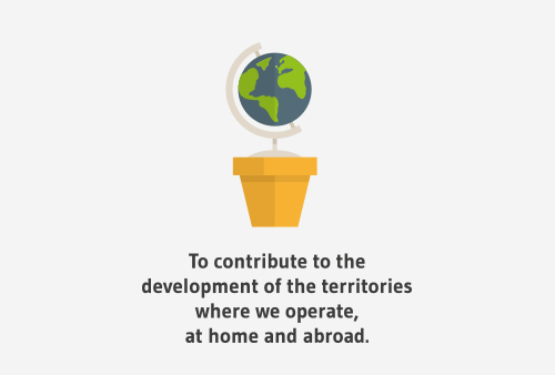 To contribute to the development of the territories where we operate, at home and abroad